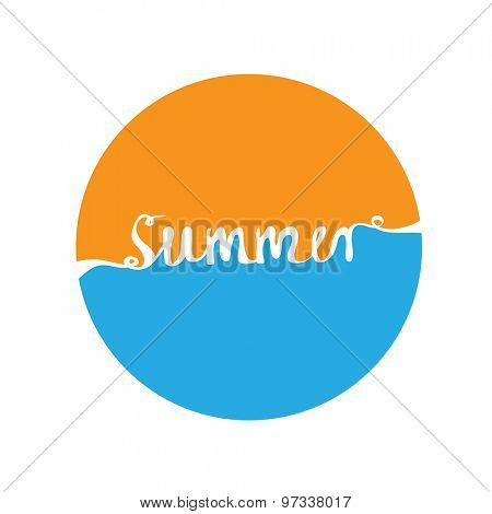Hand-written word SUMMER, lettering. Vector illustration