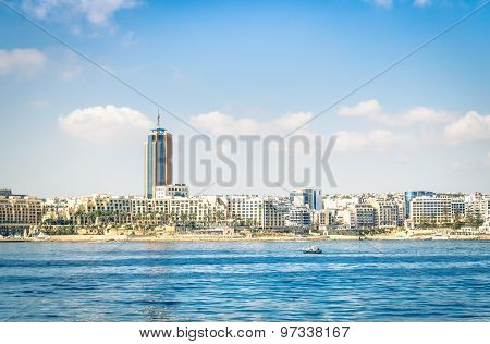 Skyline Of Paceville At St Julians From The Sea - Touristic Nightlife Place In The Island Of Malta