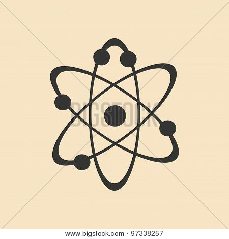 Flat with shadow icon and mobile application atoms of the molecule