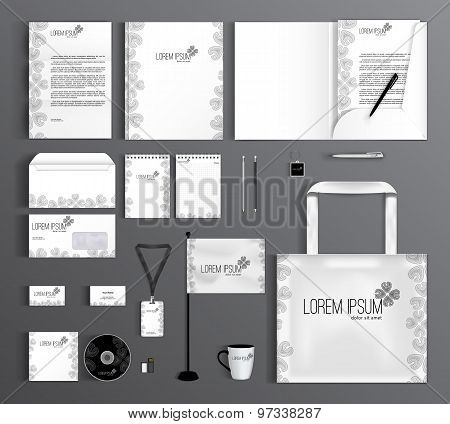 Corporate Identity Set With Floral Pattern.