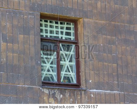 Orthodox Icon On The Window Crosses In The Area To Be Shelling. Ukraine