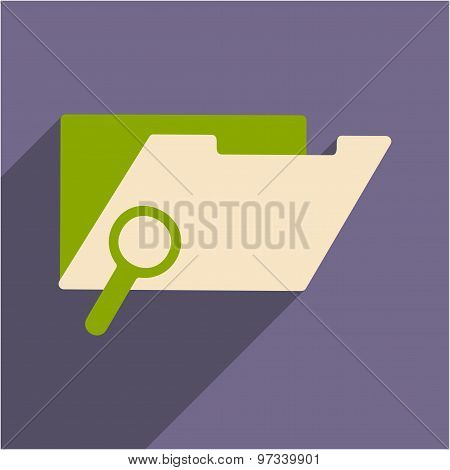 Flat with shadow icon and mobile application file folder search