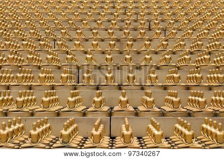 Million Golden Buddha Figurine In Wat Phra Dhammakaya. Buddhist Temple In Bangkok, Thailand