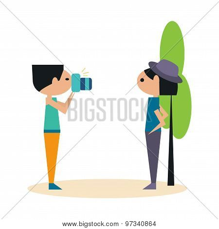 Flat with shadow icon and mobile application photographer