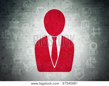 Law concept: Business Man on Digital Paper background
