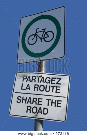 Bilingual Share The Road Sign