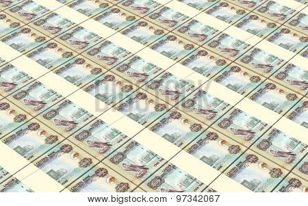 United Arab Emirates dirhams bills stacks background.