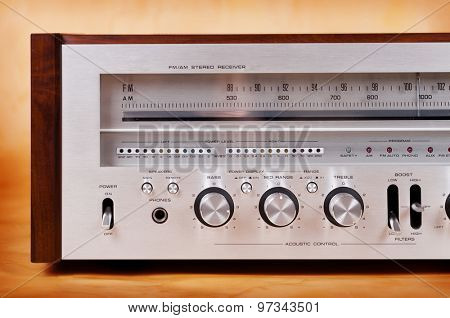 Vintage Stereo Radio Receiver Front Panel