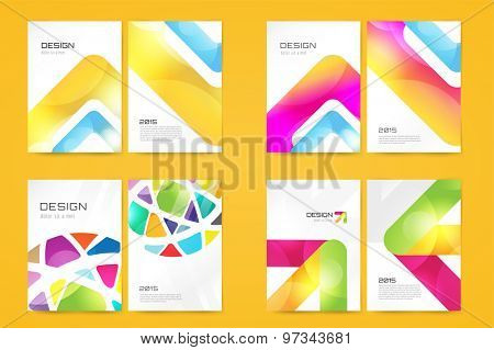 Vector brochure template set. Abstract design and creative magazine idea, blank, book cover or banner template, paper, journal, arrow, globe. Stock illustration