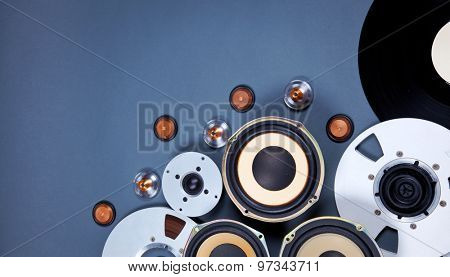 Audio Sound Media Objects Collection Set with Speakers, Tape, Records
