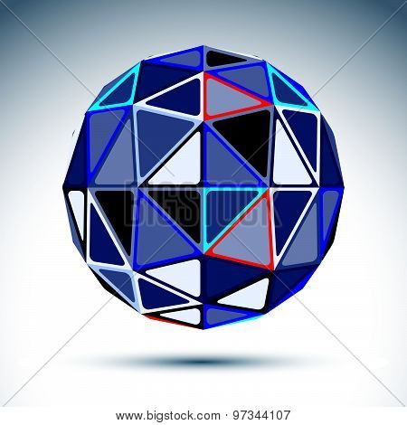 Complicated gray spherical object, 3d fractal metal sphere constructed from triangles