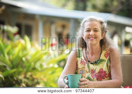 Happy Person Relaxing Outdoors