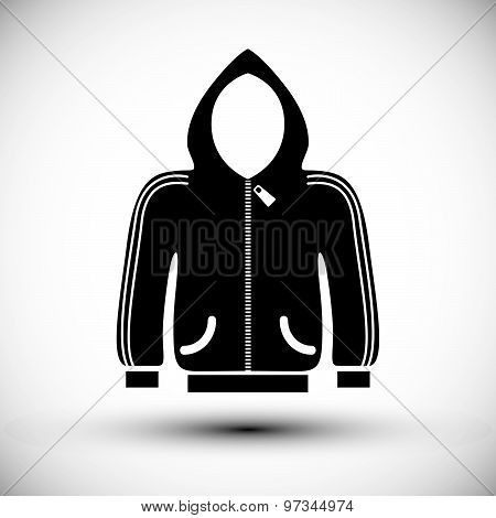 Cloth icon, vector illustration of sweater with hood.
