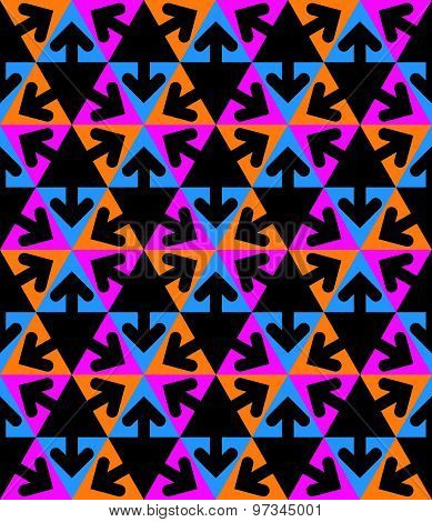 Geometric creative continuous multicolored pattern with arrows and triangles, motif abstract