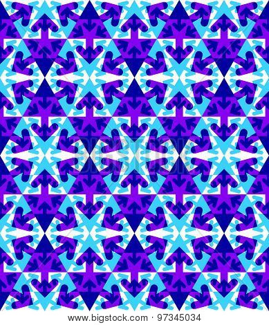 Transparent purple textured endless pattern with overlapping arrows, continuous geometric background