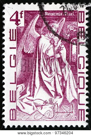 Postage Stamp Belgium 1974 Angel, By Van Eyck Brothers