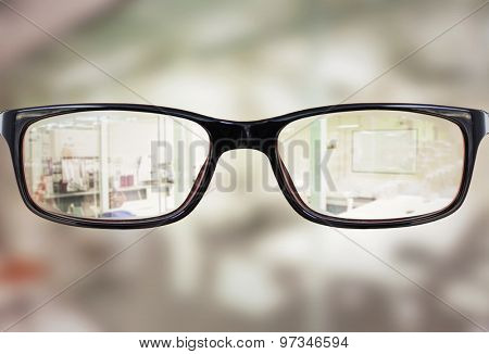 Glasses against classroom