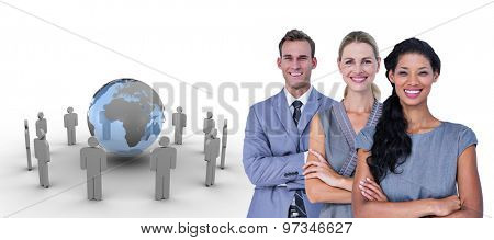 Happy business team smiling at camera against figures around earth