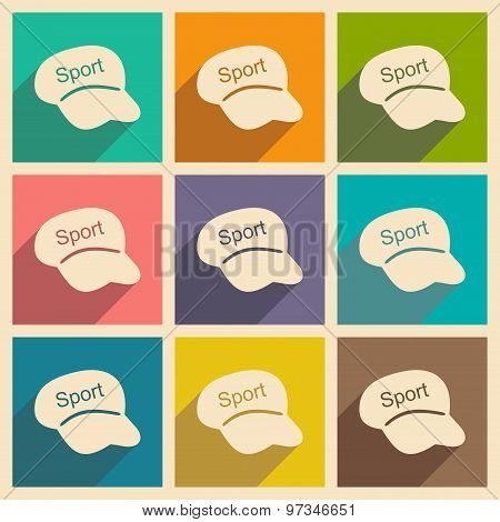 Flat with shadow concept and mobile application Sports headwear