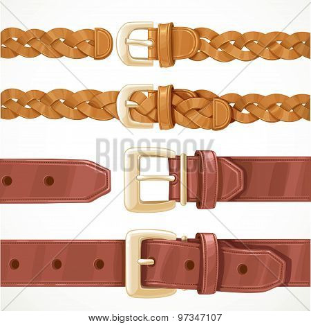 Leather Belts With Buckles Buttoned And Unbuttoned Variants