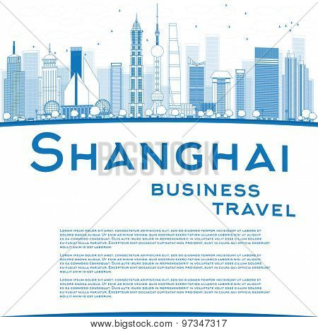 Outline Shanghai skyline with blue skyscrapers and copy space. Business travel concept. Vector illustration