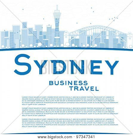 Outline Sydney City skyline with blue skyscrapers and copy space. Business travel concept. Vector illustration