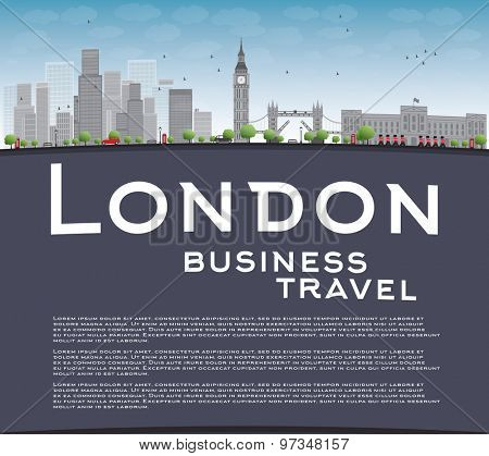 London skyline with skyscrapers, clouds and copy space. Business travel  concept Vector illustration