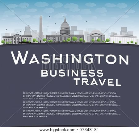 Washington DC city skyline with copy space. Business travel concept. Vector illustration with cloud and blue sky