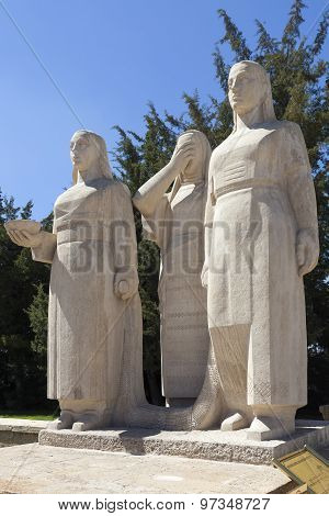 Monument to women in Turkey at the mausoleum of Ataturk. Ankara. Turkey.