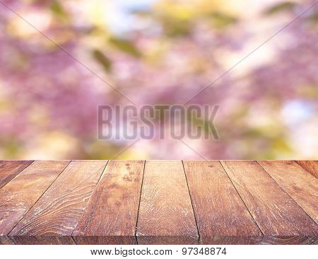 Wood Table Top On Shiny Sunlight Bokeh Background