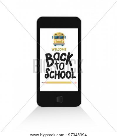 Smartphone with back to school message vector against white background