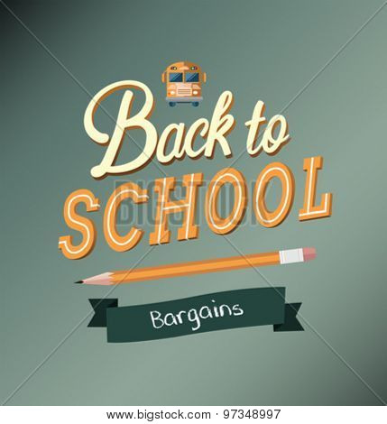 Back to school message with bargains banner and school bus icon vector