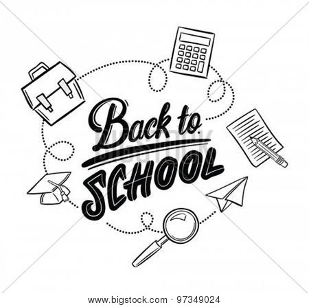 Hand drawn back to school message surrounded by icons vector against white background