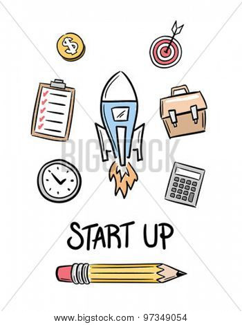 Digitally generated Start up idea concept vector
