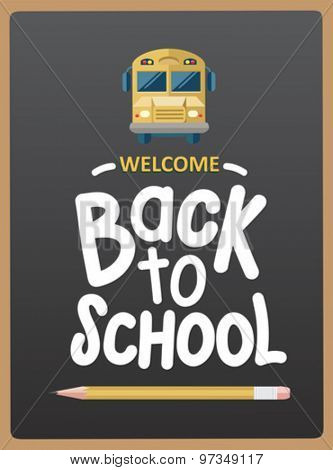 Welcome back to school message with icons vector on grey chalkboard