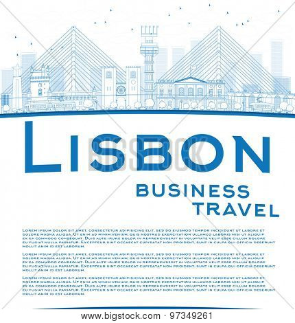 Outline Lisbon city skyline with blue buildings and copy space. Business travel concept. Vector illustration
