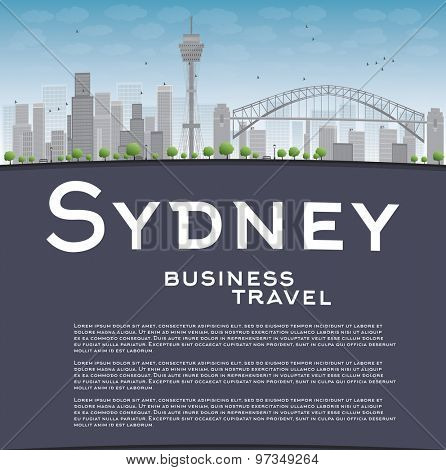 Sydney City skyline with blue sky, skyscrapers and copy space. Business travel concept. Vector illustration