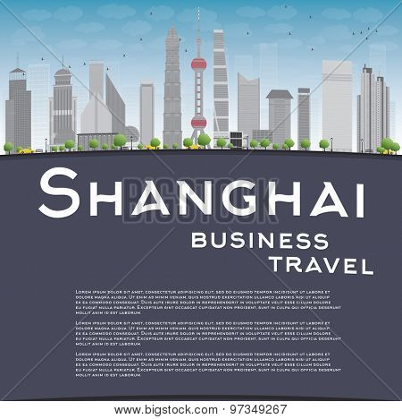 Shanghai skyline with blue sky, grey skyscrapers and copy space. Business travel concept. Vector illustration
