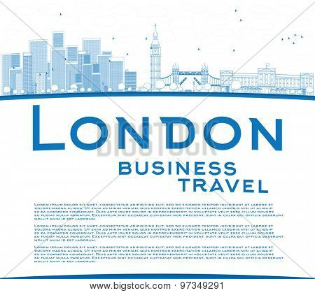 Outline London skyline with skyscrapers, clouds and copy space. Business travel concept Vector illustration