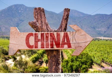 China wooden sign with winery background
