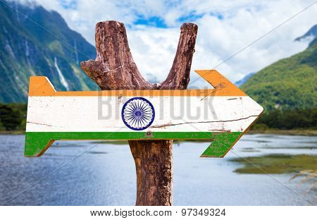 India flag wooden sign with mountains background