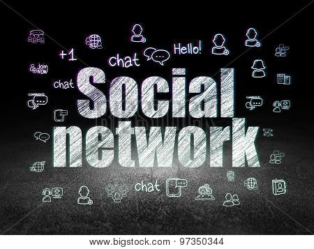 Social media concept: Social Network in grunge dark room