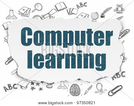 Education concept: Computer Learning on Torn Paper background