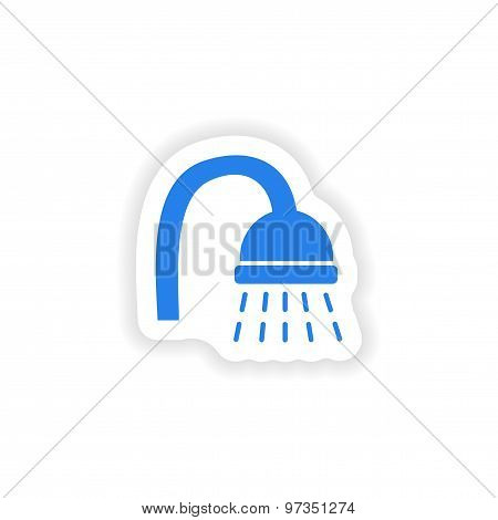 icon sticker realistic design on paper shower