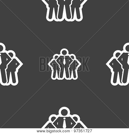 Business Team Icon Sign. Seamless Pattern On A Gray Background. Vector