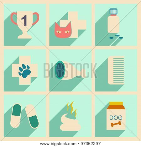 Flat with shadow concept and mobile application veterinary clinic