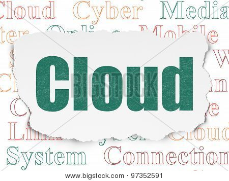 Cloud networking concept: Cloud on Torn Paper background