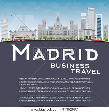 Madrid Skyline with grey buildings, blue sky and copy space. Business travel concept. Vector illustration