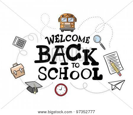 Welcome back to school message surrounded by icons vector against white background