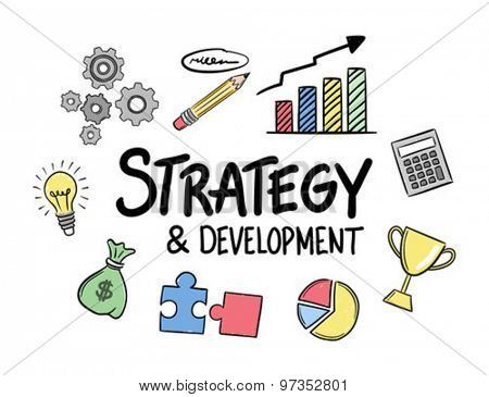Digitally generated Strategy development concept vector